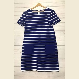 Gap blue striped polyester blend dress NWT size Md
